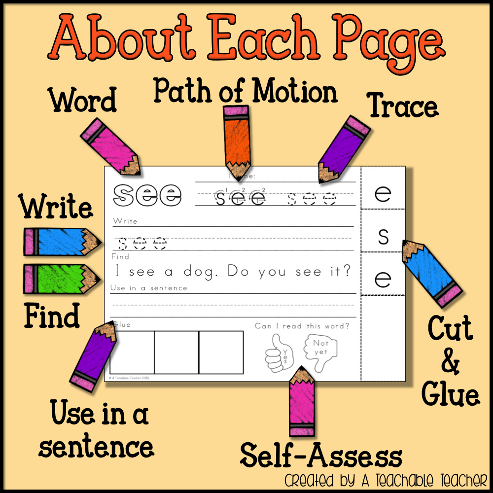 Dolch sight words worksheets for kindergarten