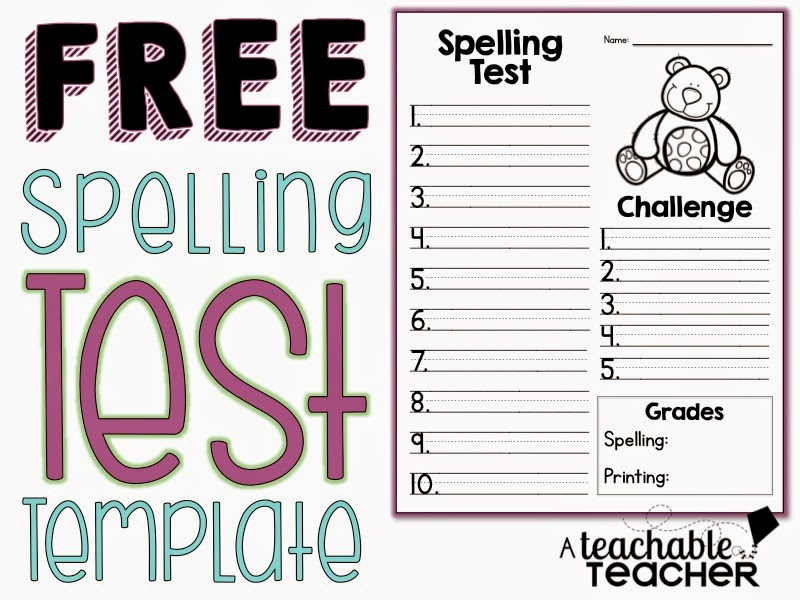 Spelling test freebie a teachable teacher for Test templates for teachers