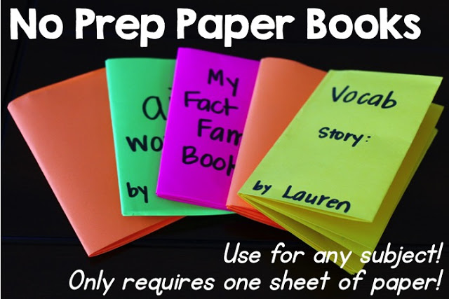 No Prep Paper Book Ideas