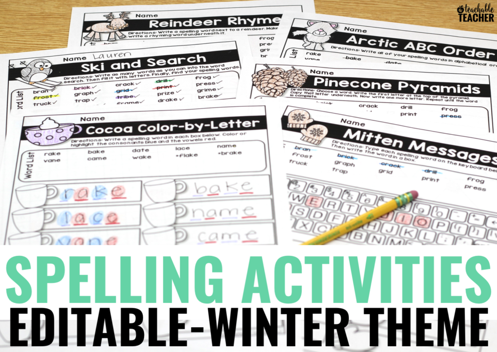 Winter Spelling Activities – Editable and Fun!