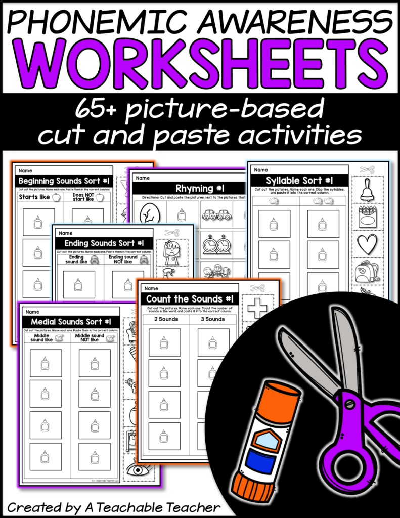 phonemic awareness worksheets TPT