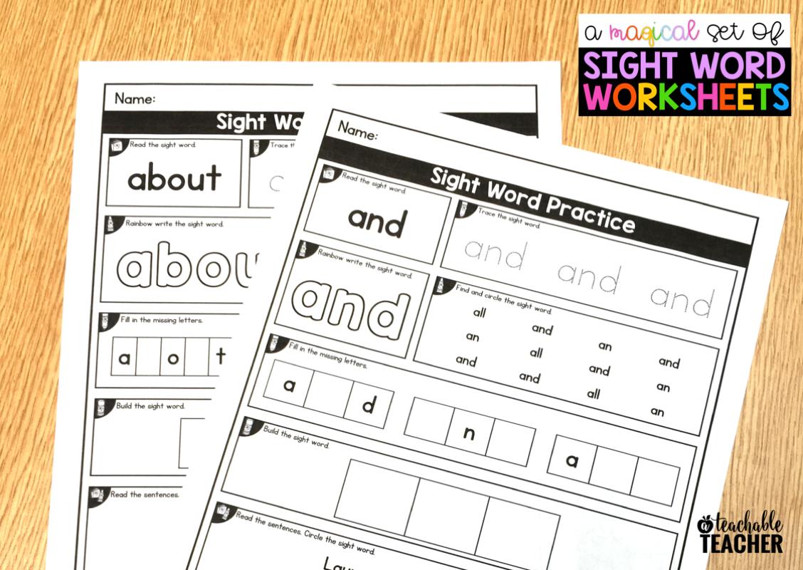 Editable Sight Word Worksheets A Teachable Teacher