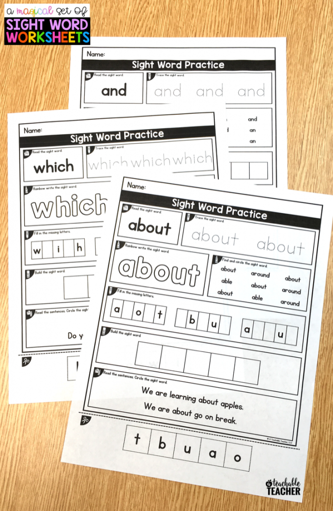 magical set of sight word worksheets