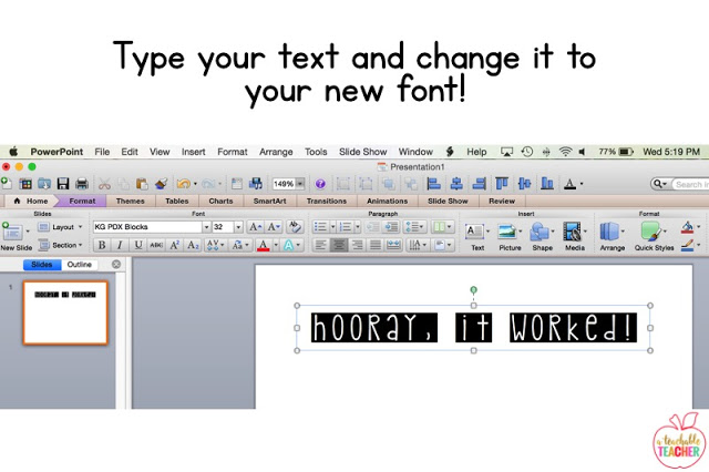 type your text and change it to your new font