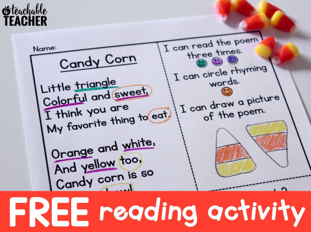Free Candy Corn Reading Activities