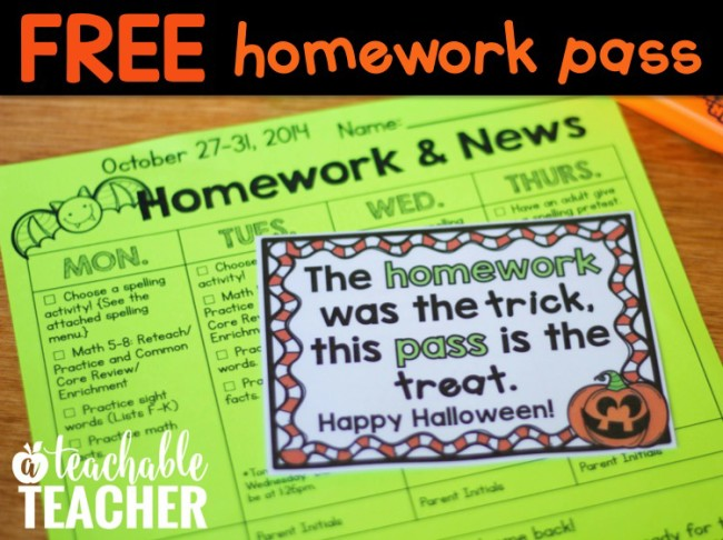 FREE Halloween Homework Pass from A Teachable Teacher
