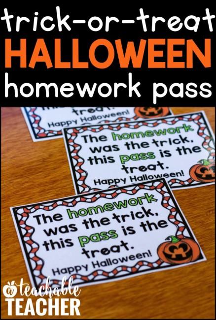 FREE Halloween Homework Pass from A Teachable Teacher