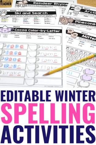 Winter Spelling Activities - Editable and Fun!