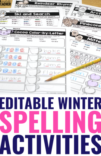winter editable spelling pages