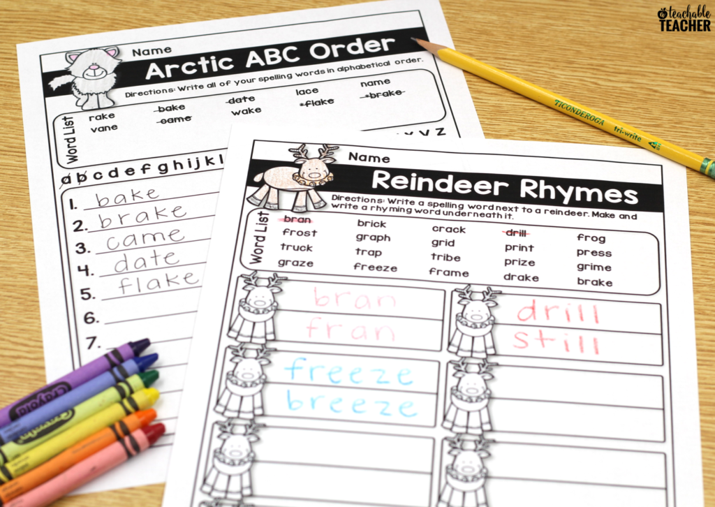 Editable spelling worksheets, ABC order and rhyming words