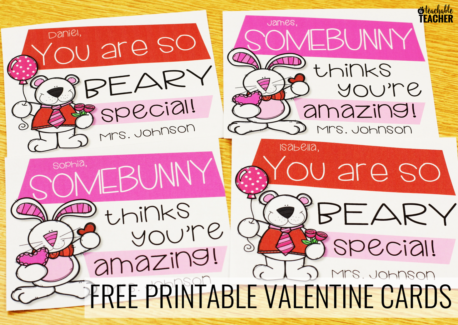 free printable teacher valentine cards
