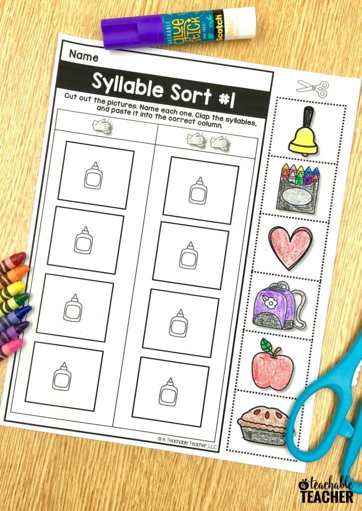 pciture-based syllable sort activities