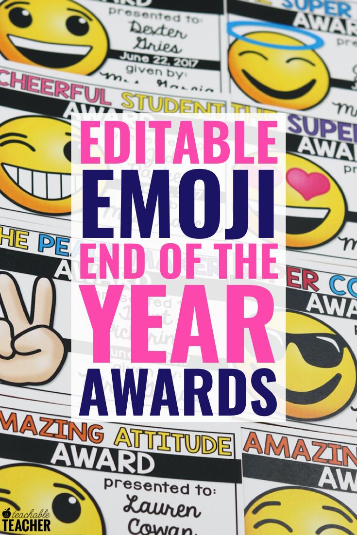 Editable End Of The Year Awards A Teachable Teacher