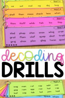 phonics decoding word drills for reading fluency