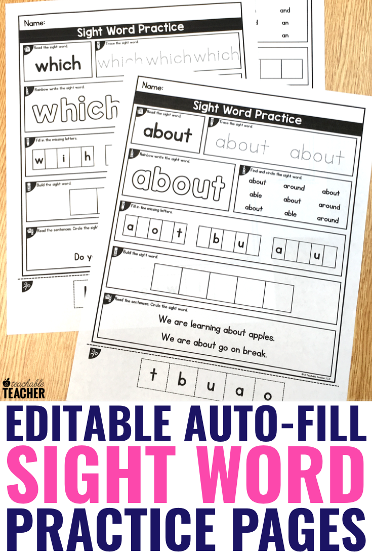 Editable Sight Word Worksheets A