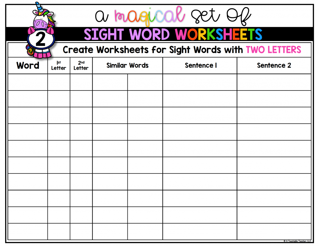 Workbooks three letter words worksheets kindergarten : Editable Sight Word Worksheets - A Teachable Teacher