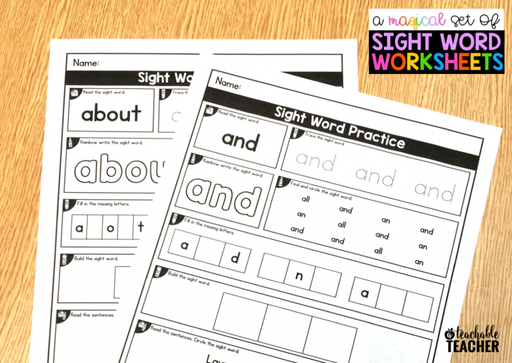 Editable Sight Word Worksheets A Teachable Teacher