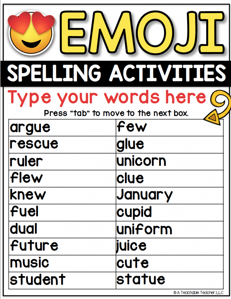 Spelling Word Worksheets - Editable for ANY Word List! - A