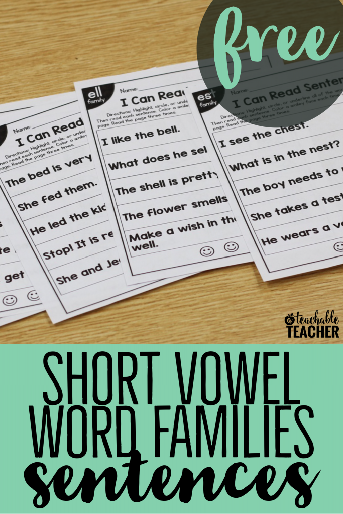 free short vowel word family sentences