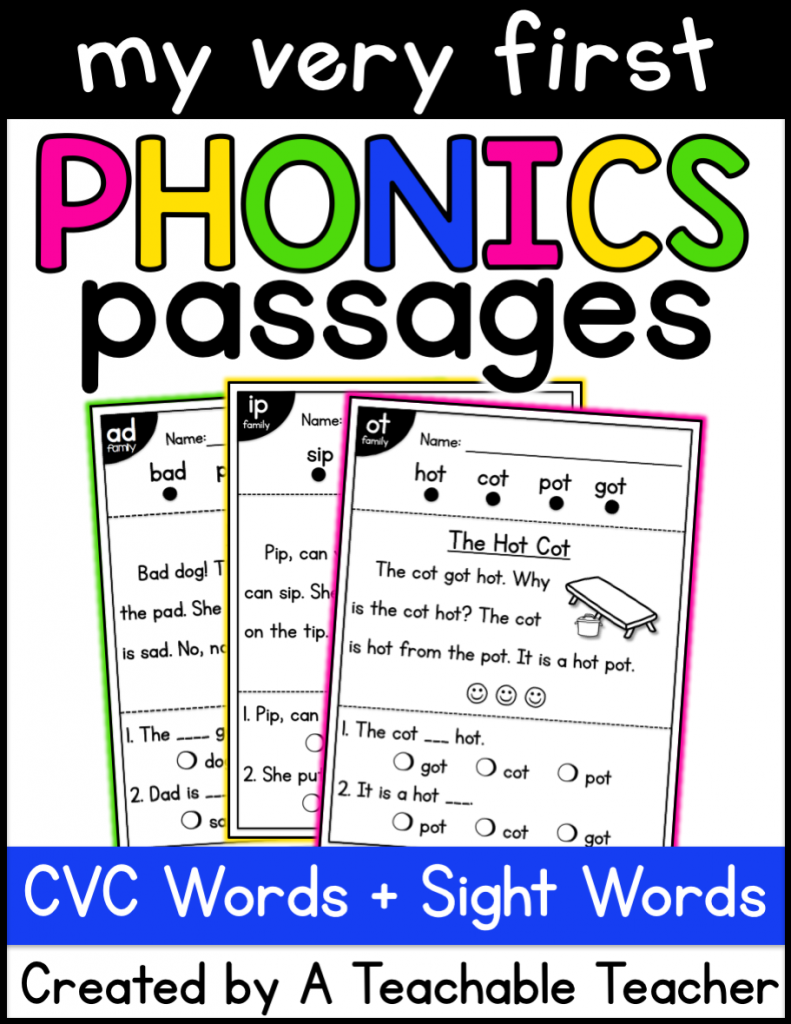 kindergarten reading comprehension passages cvc edition
