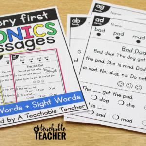 Kindergarten Reading Passages with CVC Word Families