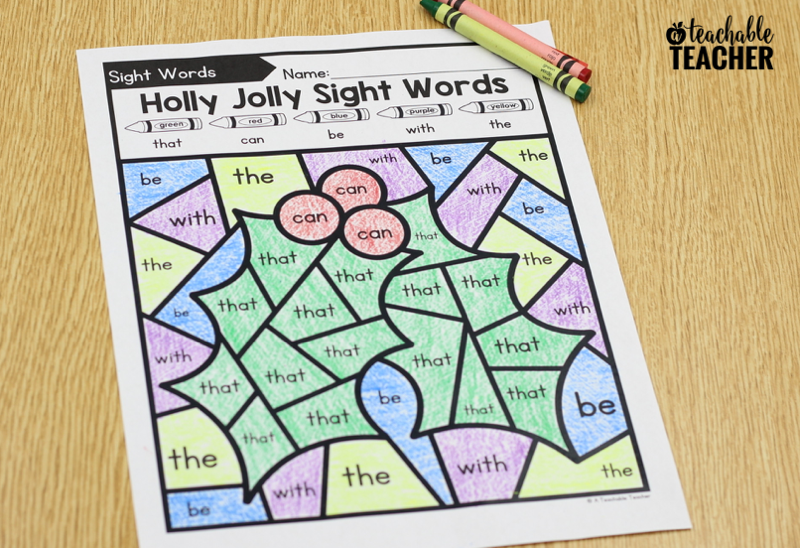 color by sight words christmas edition