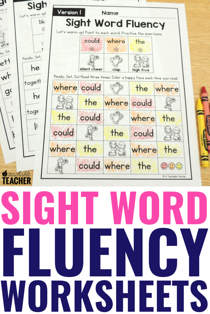 - The Best Sight Word Fluency Worksheets Of All Time - Editable! - A