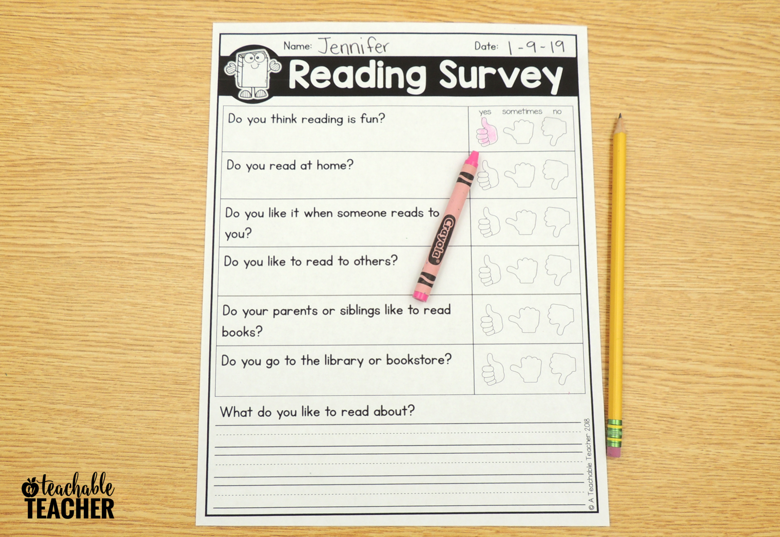 reading survey kindergarten
