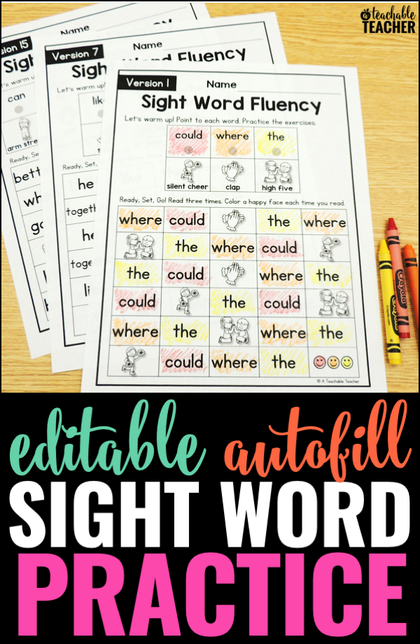 editable sight word practice
