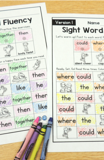 color coded sight word practice