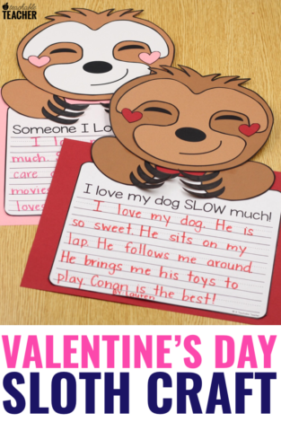 Sloth Valentines Day Craft and Writing Activity