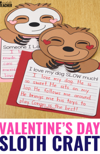 sloth valentine's day craft