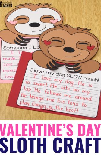 sloth valentine's day craft