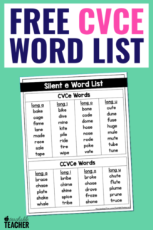 word list for teaching cvce words