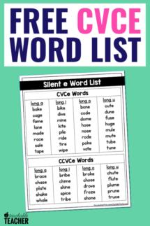 word list for teaching cvce words