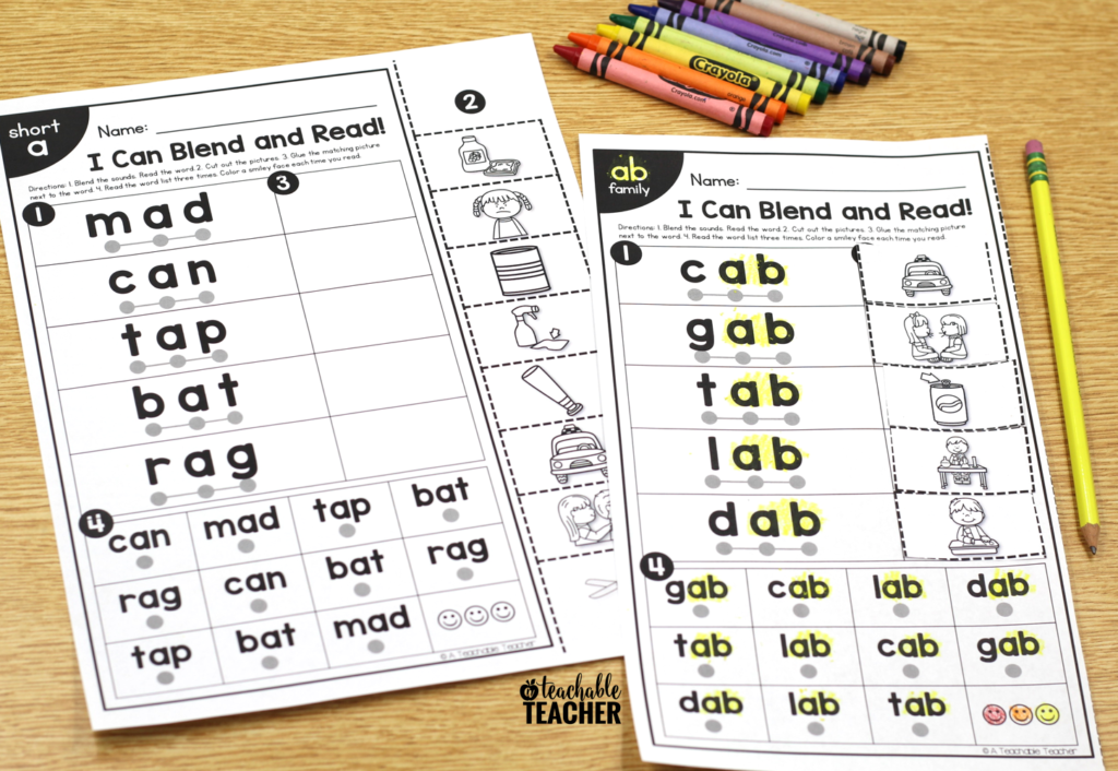 blend and read word list activity