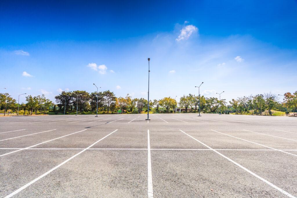big empty parking lot