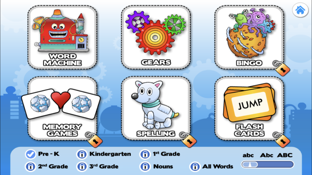 word machine and gears game