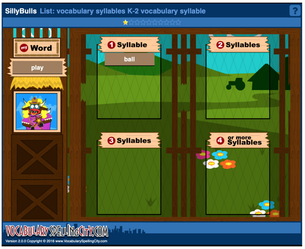 syllable phonemic awareness game online
