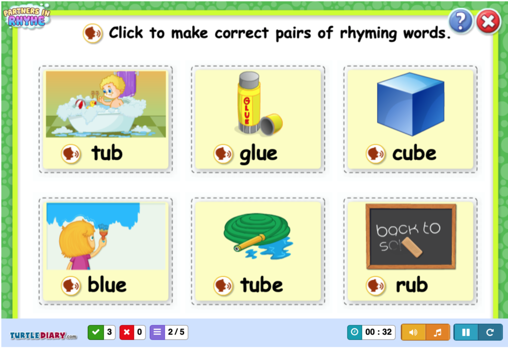 rhyming online phonemic awareness games