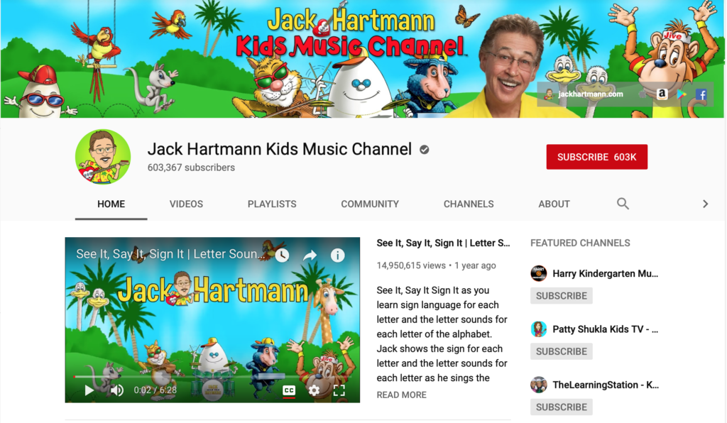 jack hartmann phonics youtube channels