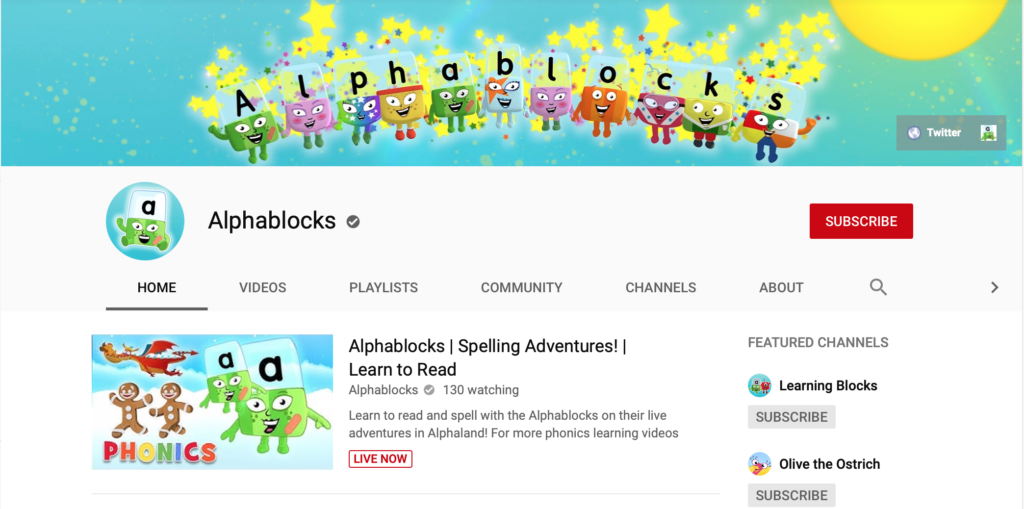 alphablocks phonics youtube channels