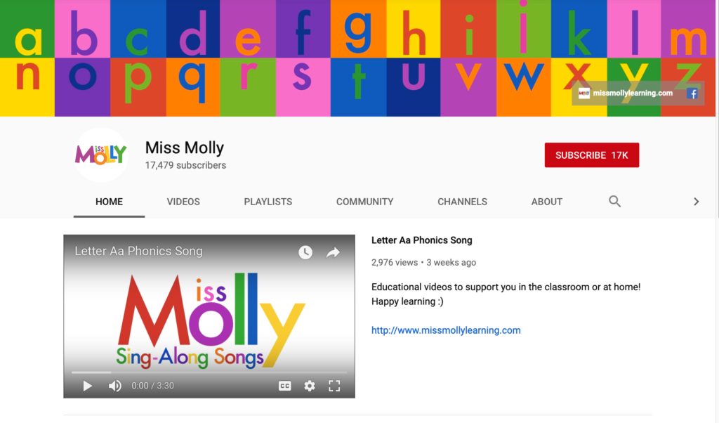 miss molly phonics youtube channels