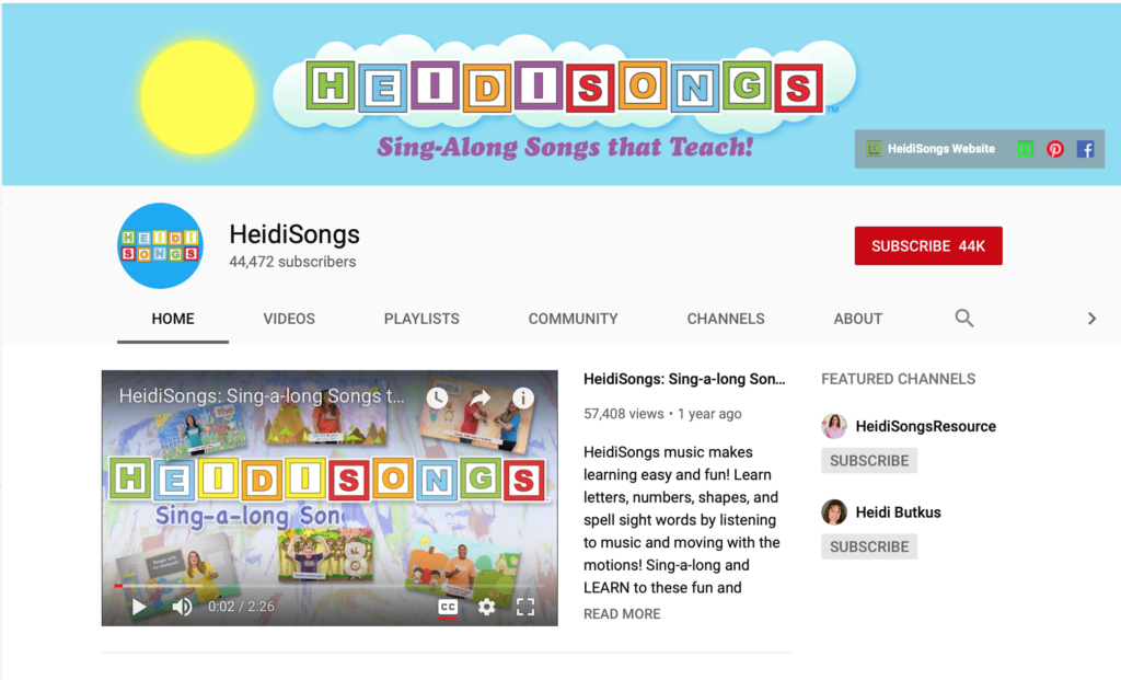 heidi songs phonics youtube channels