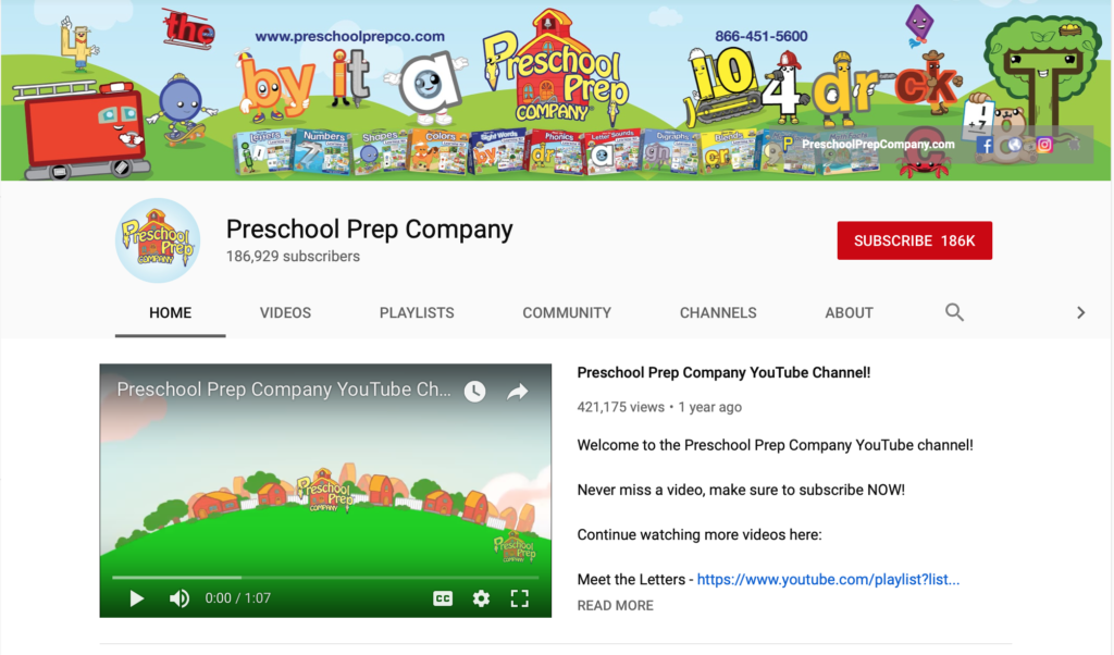 preschool prep company phonics youtube channels