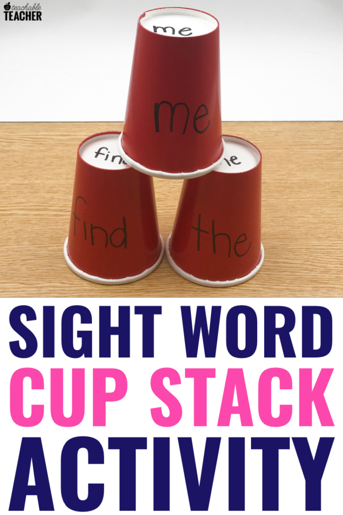 sight word cup stack activity