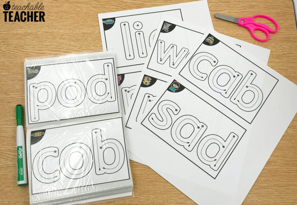 cvc word activity with free cards
