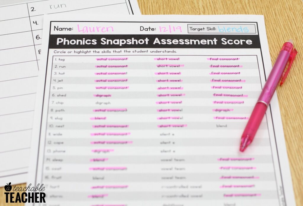 scoring phonics assessments