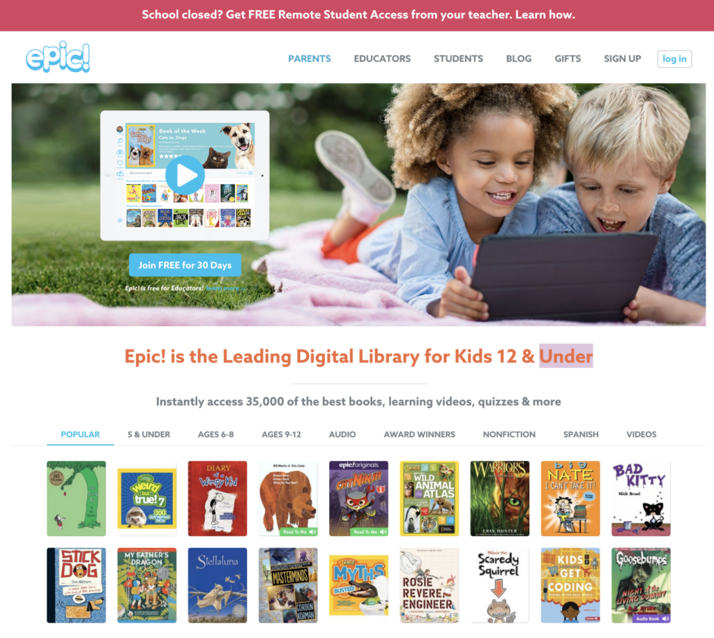 epic free digital library for kids