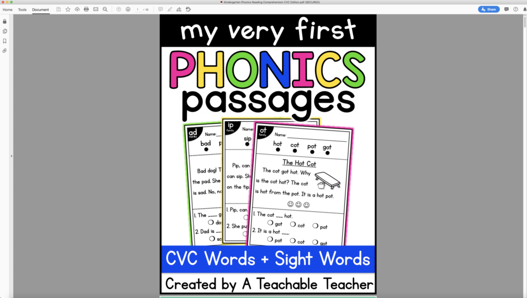 converting phonics passages for google classroom